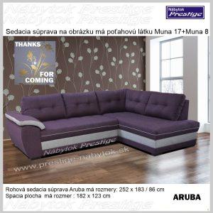 ARUBA rohová sedacia súprava fialovo biela