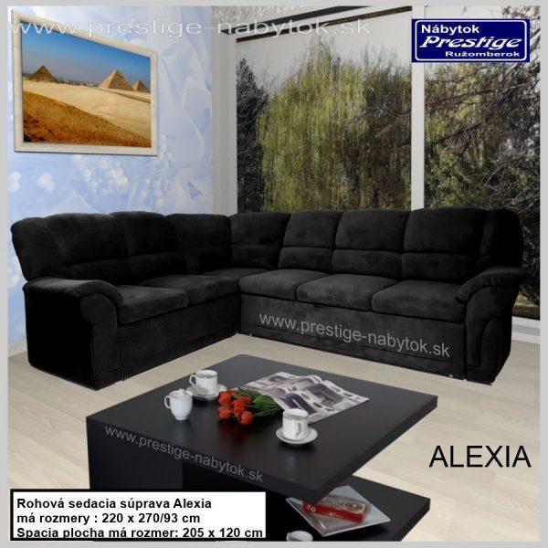 Alexia sedacia súprava rohová čierna