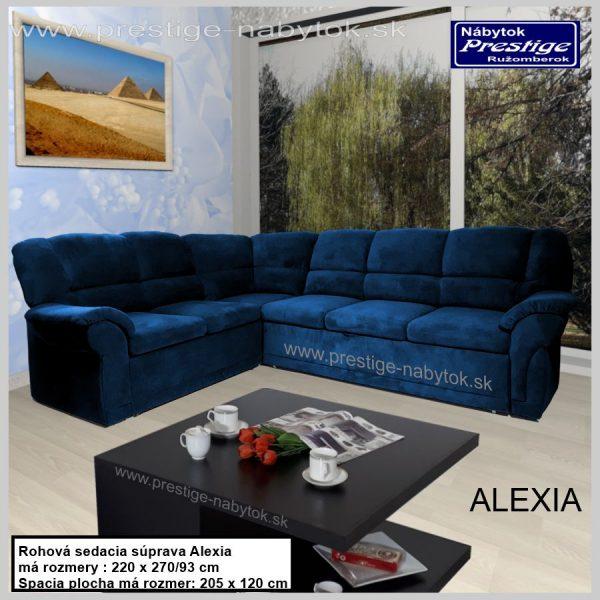 Alexia sedacia súprava rohová modrá