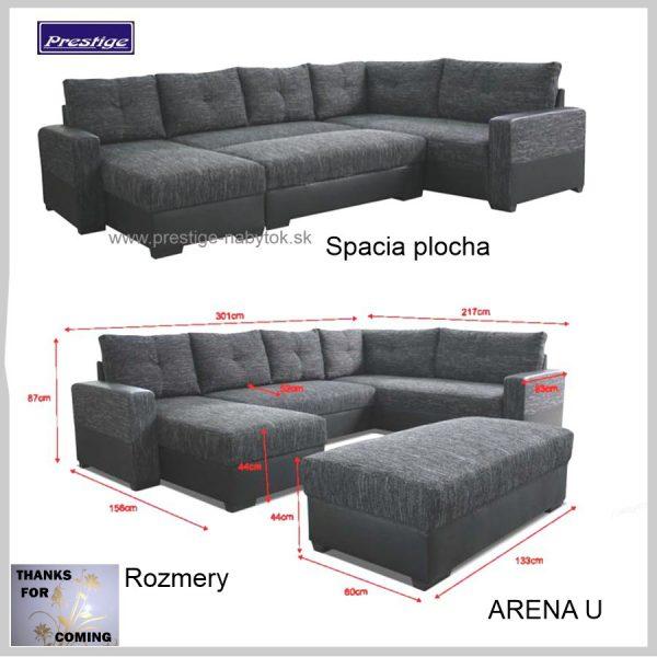 Arena sedacia súprava Tvar U veľká Spacia plocha rozmery