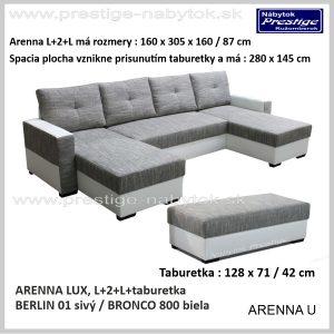 Arenna L+2+L sedacia súprava tvar U Berlin 01 Bronco 800