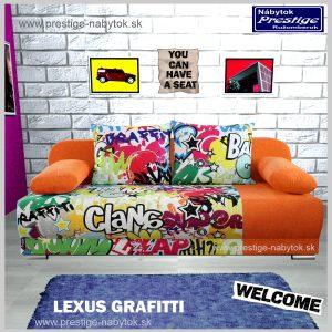 LEXUS GRAFITTI pohovka rozkladacia na spanie oranžová