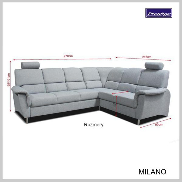 Milano Rohová Sedačka Rozmery