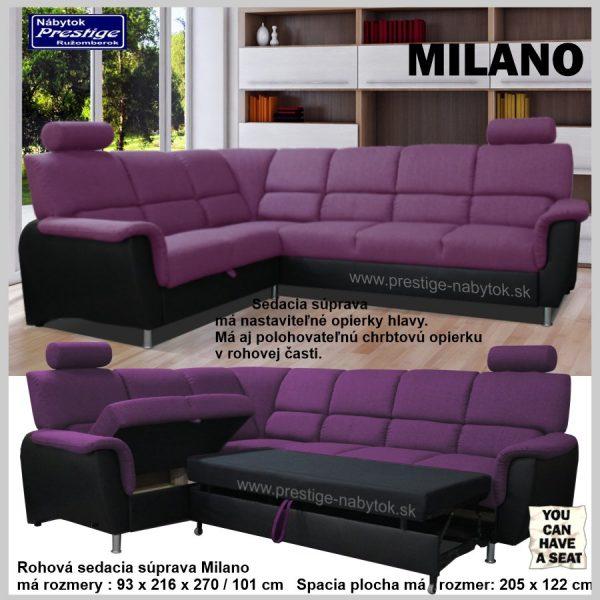 Milano sedacia rohová súprava rozkladacia fialová spacia plocha