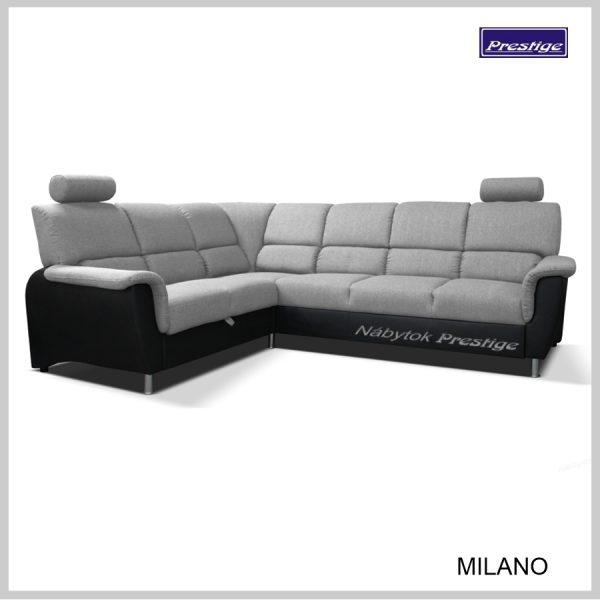 Milano sedacia súprava Rohová rozkladacia sivo čierna