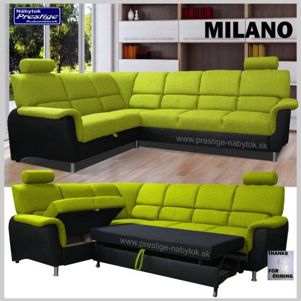 Milano sedacia rohová súprava zelená spacia plocha