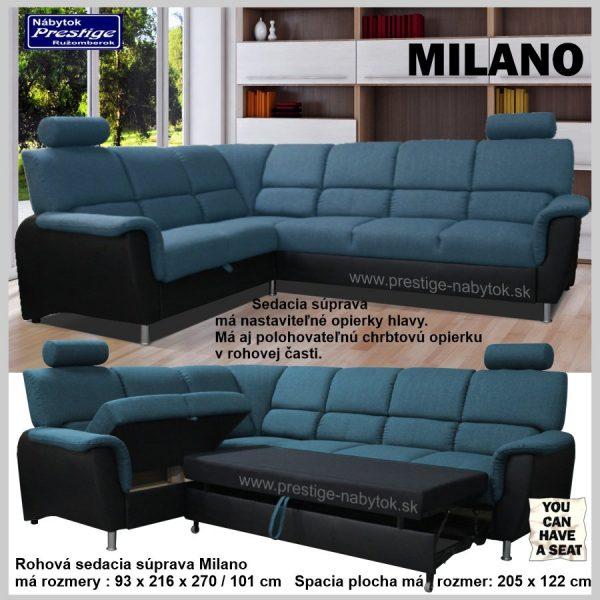 Milano sedačka rohová rozkladacia modro čierna spacia plocha