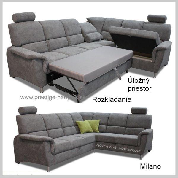 Milano rohová sedačka sivá Rozkladanie Úložný priestor