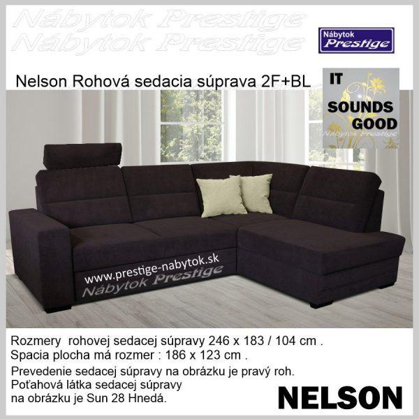 NELSON 2FBL rohová sedačka rozkladacia hnedá