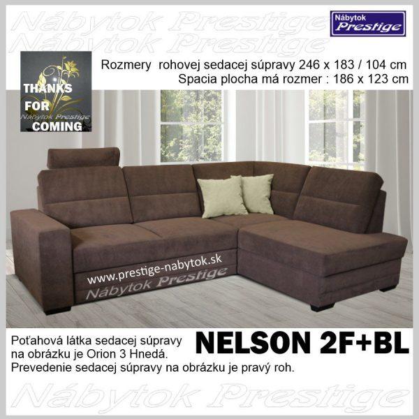 NELSON sedačka rohová tmavo hnedá rozkladacia