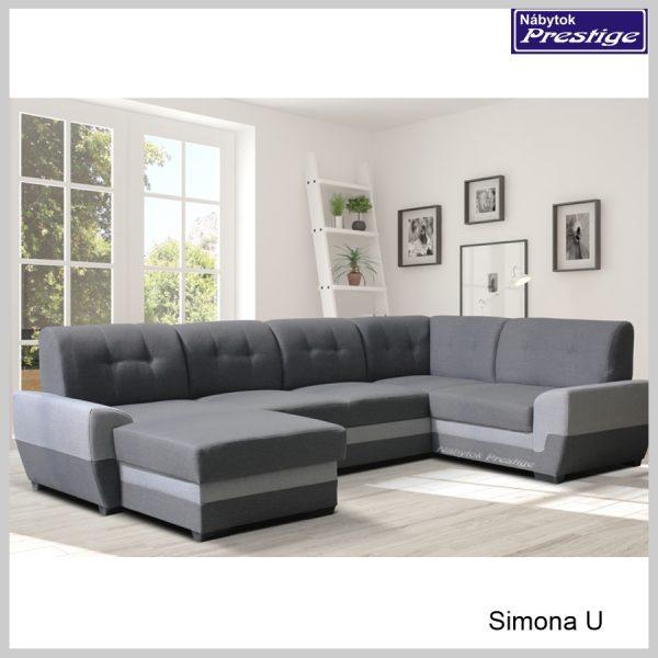 Simona U sedacia súprava rozkladacia tvar U gray