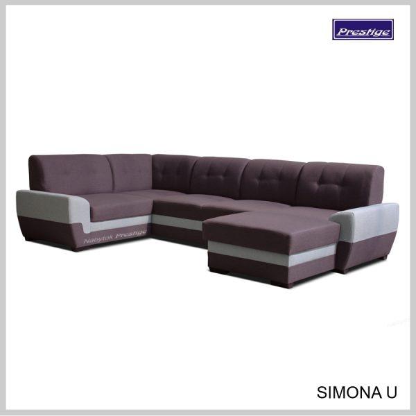 Simona U sedacia súprava tvar U fialovo sivá