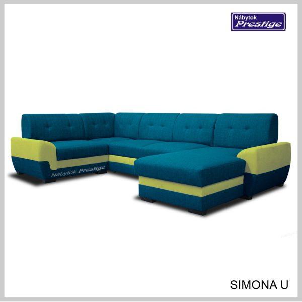 Simona U sedacia súprava tvar U modrá zelená