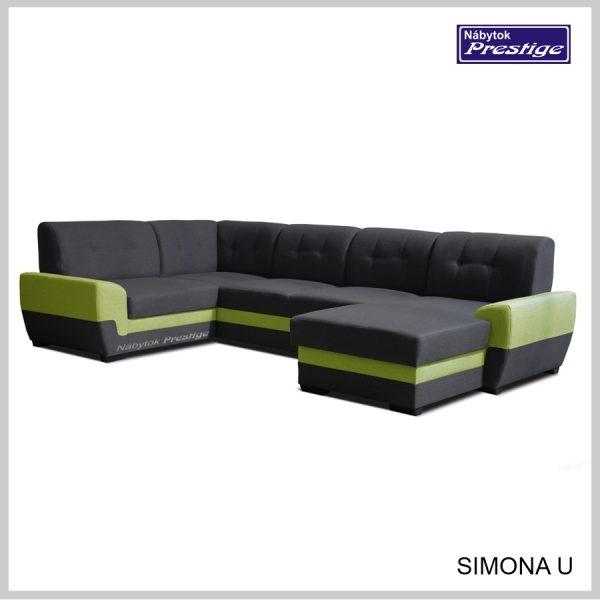 Simona U sedacia súprava tvar U sivá zelená