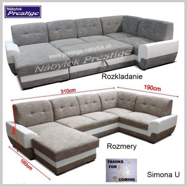SIMONA U sedačky tvar U rozkladanie a Rozmery