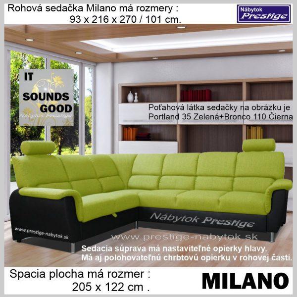 Milano sedačka rohová rozkladacia zeleno čierna