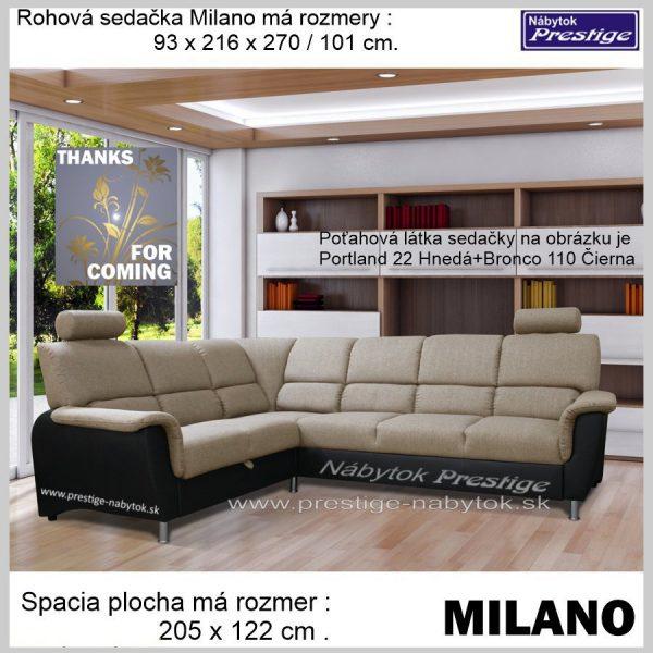 Milano sedačka rohová svetlo hnedá čierna