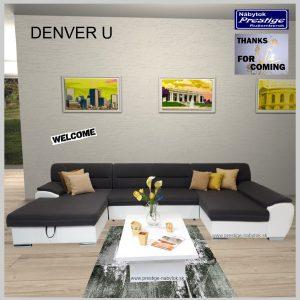 Denver sedacia súprava tvar U sivo biela