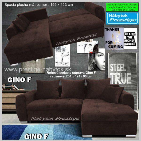 GINO F sedačka hnedá rohová spacia plocha
