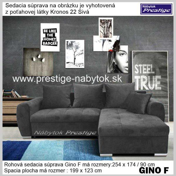 GINO F sedačka rohová sivá