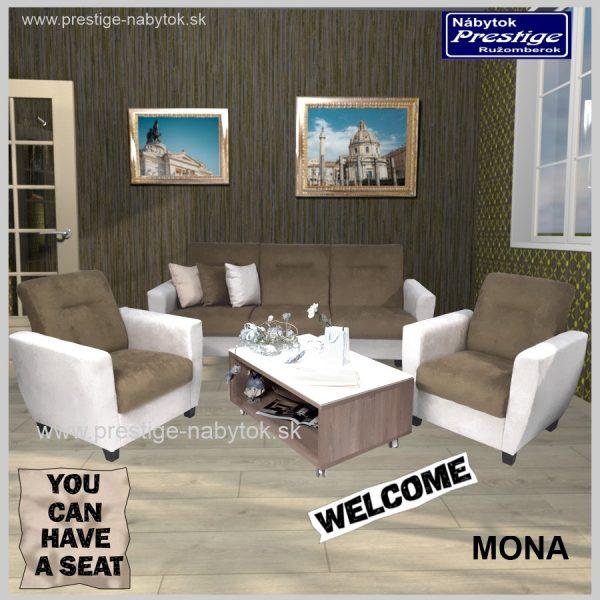 Mona sedacia súprava hnedá