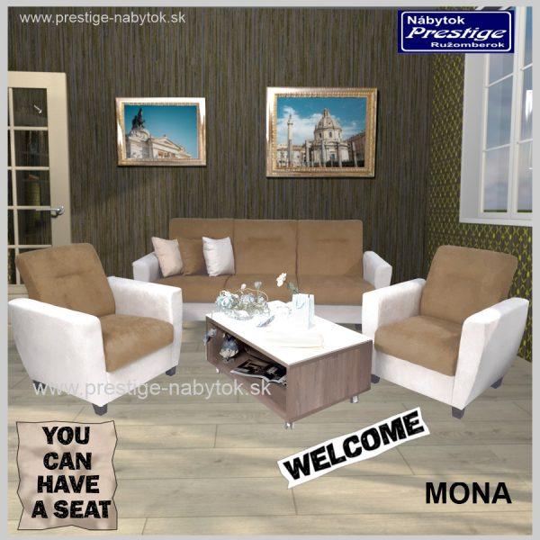 Mona sedacia súprava rozkladacia hnedo biela