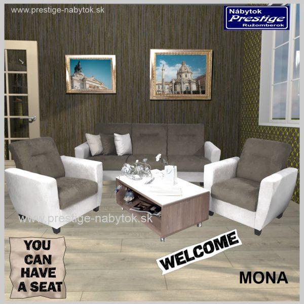 Mona sedacia súprava sivá