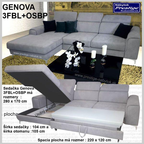 Genova sedačka rohová 3FBL spacia plocha
