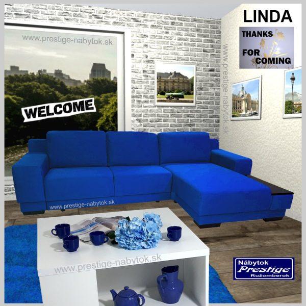 Linda rohová sedacia súprava rozkladacia modrá