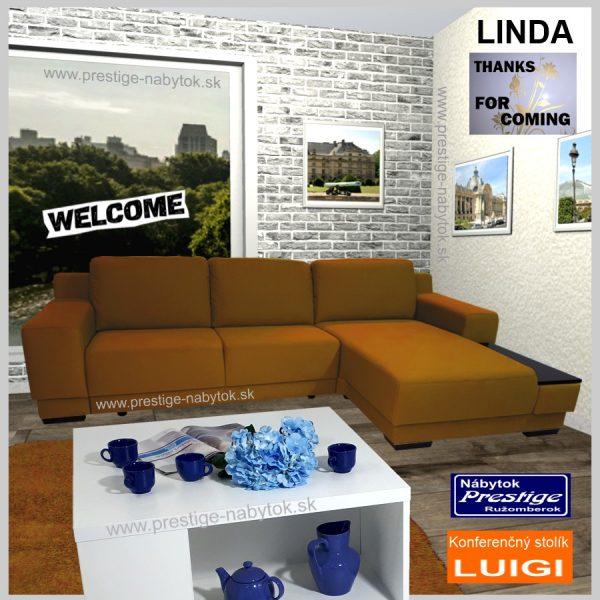 Linda sedacia súprava + konferenťný stolík Luigi