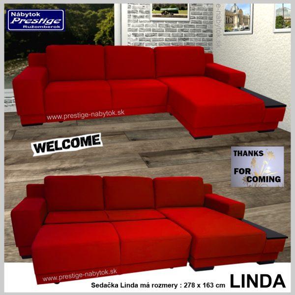 Linda sedačka rohová rozkladacia červená spacia plocha