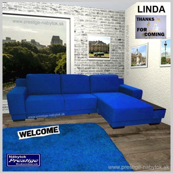 Linda sedačka rohová rozkladacia modrá