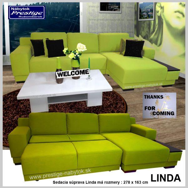 Linda sedačka rohová zelená spacia plocha