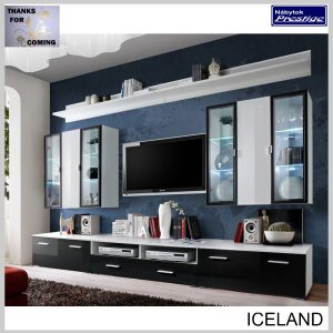 ICELAND obývacia stena biela/čierna