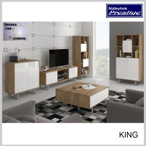 KING obývačka Craft zlatý/Biely lesk