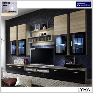 LYRA obývacia stena čierna/dub sonoma