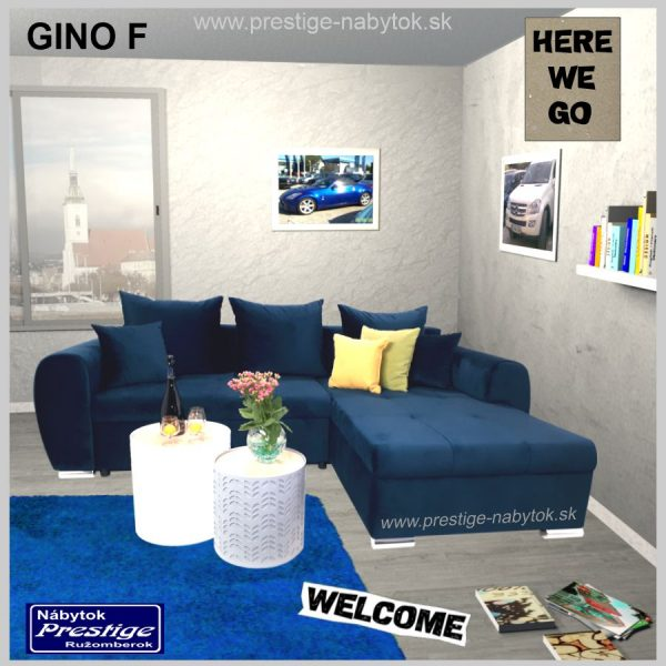 Gino sedacia súprava rohová rozkladacia modrá