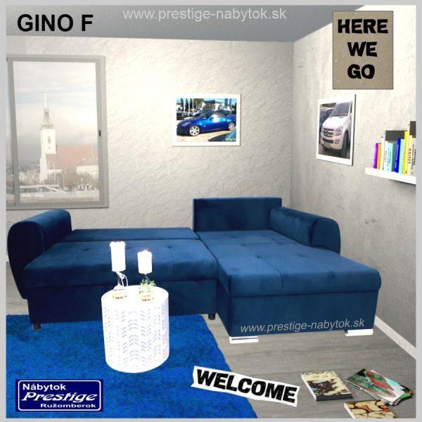 Gino sedačka rohová rozkladacia modrá spacia plocha