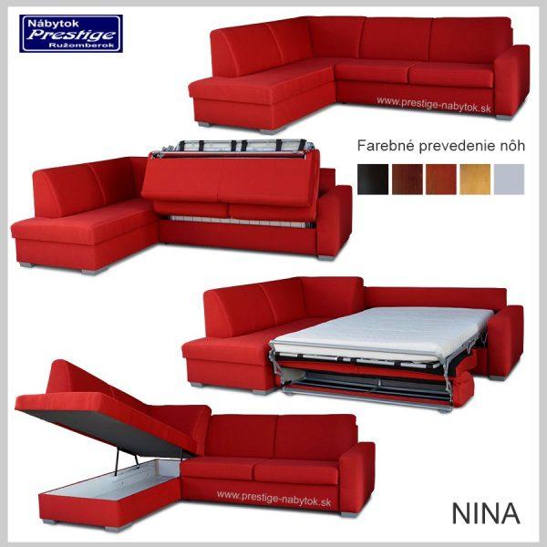 Nina sedacia súprava rohová červená