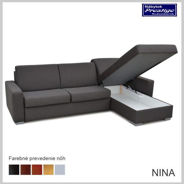 Nina sedačka rohová sivá úložný priestor