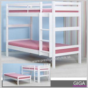 Giga poschodová posteľ biela